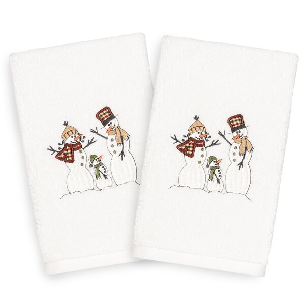 Beam Snow Family Embroidered Luxury 100% Turkish Cotton Hand Towel (Set of 2) by The Holiday Aisle